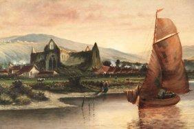 Monumental 19th C. Continental River Scene Landscape