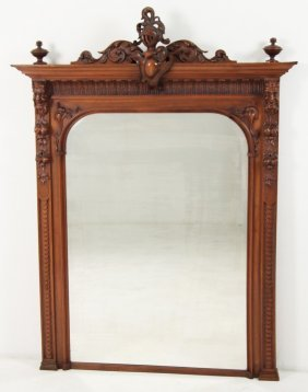 Henry Ii Carved French Walnut Beveled Mirror