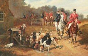 Watts, Large English Oil On Canvas Hunt Scene Painting