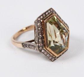 18k Yellow Gold Diamond And Lemon Topaz Ring