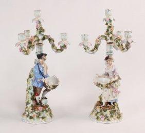 Pair Of German Porcelain 4 Light Figural Candelabra