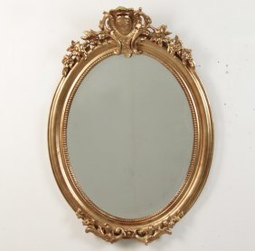 French Gold Gilt Oval Beveled Glass Mirror
