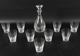 Hand Cut Crystal Decanter And 9 Glasses