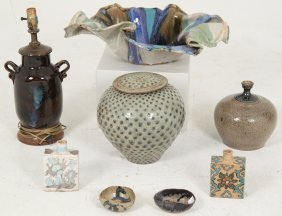 8 Piece Miscellaneous Stoneware And Glazed Pottery