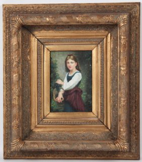 Oil On Board Painting Of Young Girl