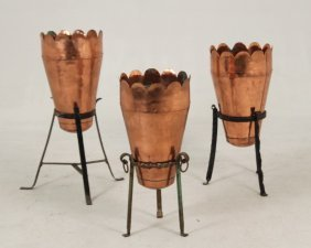 Group Of 3 Copper Planters On Iron Stands