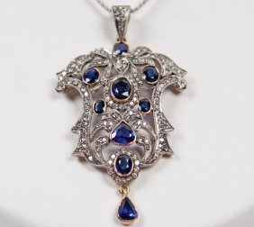 18k Gold Blue Sapphire And Diamond Pendant Necklace