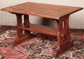 Primitive Style Pine Trussell Table
