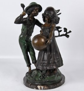 Polychrome Bronze Sculpture Of Young Couple