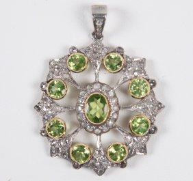 18k Gold Diamond And Peridot Pendant