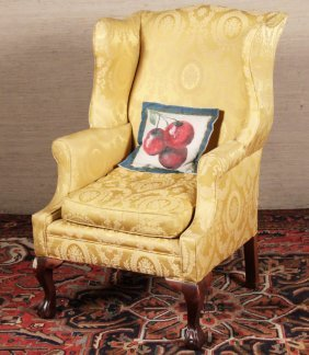 Chippendale Style Carved Mahogany Wing Chair