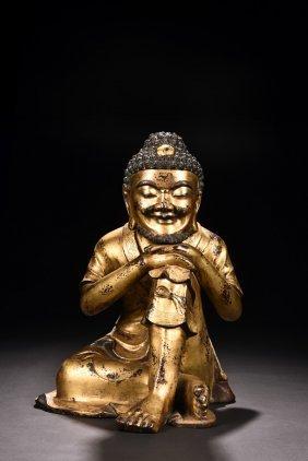 Gilt Bronze Bodhidharma Figure