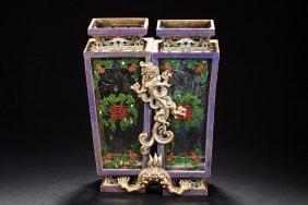 Linked Cloisonne And Glass Lantern