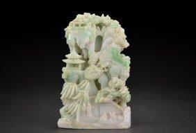 Carved Jadeite 'pavilion Scene' Decorative Shanzi
