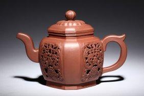 Feng Guilin: Yixing Zisha Openwork Teapot