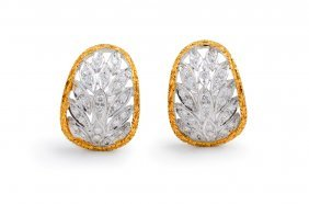 Buccellati Diamond Gold Earclips