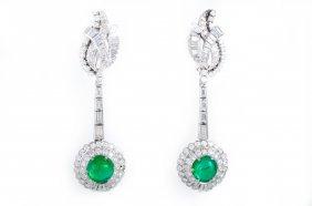Diamond Emerald Drop Earrings