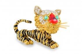Frascarolo Diamond Enamel Tiger Pin