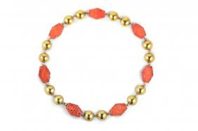 Antique Gold Carved Carnelian Link Necklace