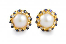Mabe Pearl, Sapphire, And Diamond Earrings