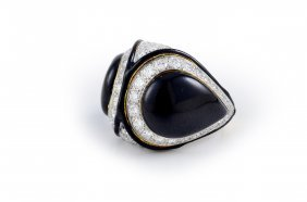 David Webb Enamel And Diamond Ring