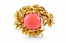Tiffany Gold And Coral Brooch