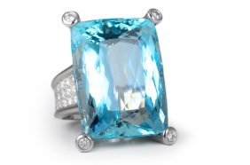 Birks Large Aquamarine Diamond Ring