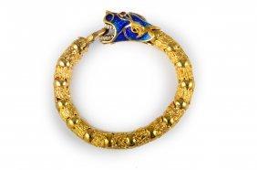 Gold Enamel Dragon Bangle