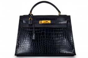 Hermes Kelly Black Patent Porosus Crocodile Bag