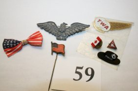 Eagle Pin, Flag Pin, TWA Pin