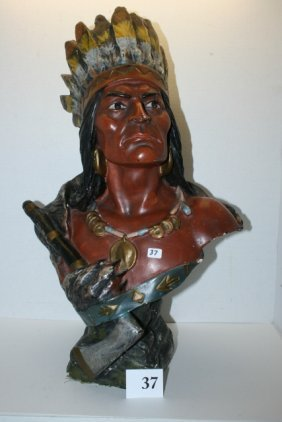 Plaster Bust Of Keokuk Indian Chief