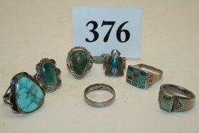 7 Assorted Navajo Zuni Rings