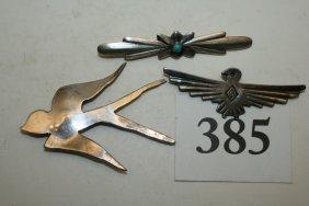 3 Navajo Silver Pins