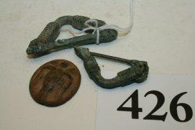 3 Items: Brass Roman Button