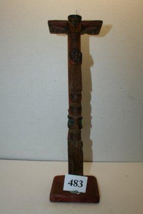 Carved Cedar Totem Model