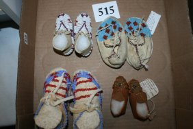 4 Pair Beaded Baby – Childs Moccasins
