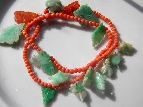 Antique Chinese Coral And Jadeite Necklace