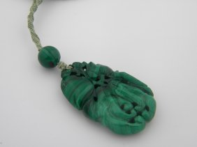 Antique Chinese Malachite Fruits Pendant