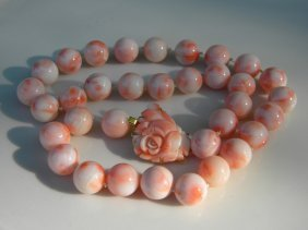 Antique Pink Angle Skin Coral Necklace, Size Of The