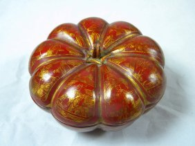 Antique Chinese Lacquer Melon Box Gold Gilt
