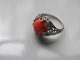 Vintage Chinese Silver Filigree Coral Ring