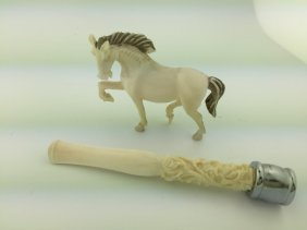 Pair Of Carved Horse And Smoking Pipe