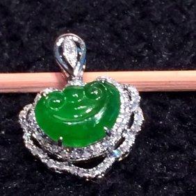 18k Gold Diamond Natural Green Jadeite Ruyi Pendant