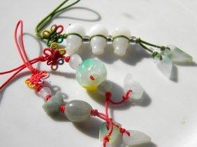 Three Chinese Jade Chain Pendants