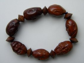 Antique Chinese Carved Nut Buddha Head Bracelet
