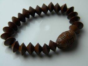 Antique Chinese Carved Nut Bracelet