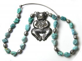 Antique Chinese Turqoise Necklace With Silver Baby