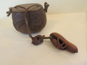 19th Century Japanese Carved Wooded Tobacco Pouch