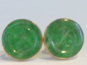 Pair Of Antique Chinese Jadeite 14k Gold Earrlings