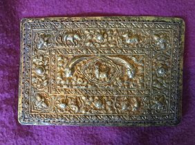 Antique Chinese Gold Gilted Silver Plaque